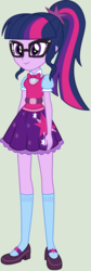 Size: 960x2856 | Tagged: artist:ra1nb0wk1tty, bowtie, clothes, cute, equestria girls, glasses, mary janes, ponytail, safe, sci-twi, shoes, skirt, socks, solo, twilight sparkle
