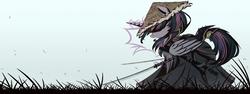 Size: 2667x1000 | Tagged: safe, artist:ncmares, twilight sparkle, alicorn, pony, clothes, female, glowing horn, grass, hat, katana, levitation, magic, samurai, sky, solo, sword, telekinesis, twilight sparkle (alicorn), weapon, wing fluff