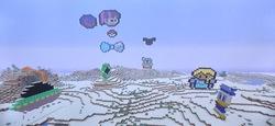 Size: 1821x841 | Tagged: safe, artist:theanimefanz, rainbow dash, twilight sparkle, boba fett, bow, bowtie, donald duck, elsa, frozen, frozen (movie), game screencap, lava, mickey mouse, minecraft, minecraft pixel art, pixel art, pokéball, pokémon, power rangers, snow, spider-man, spider-man 2099, star wars, ufo