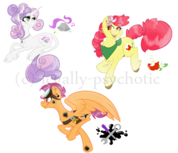 Size: 2500x2151 | Tagged: safe, artist:legally-psychotic, apple bloom, scootaloo, sweetie belle, classical unicorn, pony, unicorn, alternate cutie mark, burn, cloven hooves, cutie mark crusaders, flower, flower in hair, goggles, high res, leonine tail, older, prone, simple background, transparent background, unshorn fetlocks, watermark