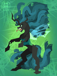 Size: 1200x1600 | Tagged: safe, artist:bigmoon206, queen chrysalis, changeling, changeling queen, female, open mouth, rearing, solo