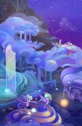 Size: 1650x2550 | Tagged: safe, artist:viwrastupr, blossomforth, cloud kicker, cloudchaser, derpy hooves, flitter, surprise, pegasus, pony, background pony, cloud, cloudsdale, color porn, female, flower, flying, mare, rose, scenery, scenery porn