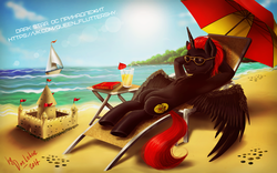 Size: 1024x640 | Tagged: safe, artist:das_leben, oc, oc only, oc:dark star, alicorn, pony, alicorn oc, armpits, beach, beach chair, book, juice, lemonade, ocean, original character do not steal, red and black oc, relaxing, sailboat, sand, sandcastle, signature, solo, sunglasses, table, umbrella