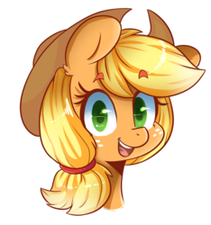 Size: 1113x1188 | Tagged: safe, artist:hearlesssoul, applejack, earth pony, pony, bust, colored pupils, cute, female, freckles, jackabetes, looking at you, open mouth, portrait, simple background, smiling, solo, transparent background