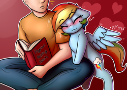 Size: 2400x1710 | Tagged: dead source, safe, artist:captainpudgemuffin, rainbow dash, human, pegasus, pony, :3, behaving like a bird, behaving like a cat, bipedal, bipedal leaning, blushing, book, captainpudgemuffin is trying to murder us, chest fluff, commission, cute, dashabetes, duo, eyes closed, female, floppy ears, fluffy, hnnng, human on pony snuggling, leaning, mare, nuzzling, pony pet, purring, raised leg, sitting, smiling, snuggling, spread wings
