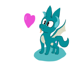 Size: 1894x1721 | Tagged: artist:paskanaakka, derpibooru exclusive, dracony, fangs, forked tongue, heart, hybrid, oc, oc only, oc:puppy love, paws, safe, simple background, smiling, solo, spread wings, tongue out, transparent background