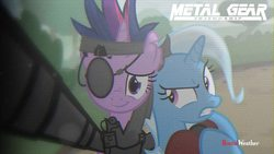 Size: 1280x720 | Tagged: safe, artist:brutalweather studio, screencap, trixie, twilight sparkle, pony, unicorn, metal gear friendship, amputee, bandana, big boss, eyepatch, female, future twilight, horn, mare, metal gear, metal gear solid, naked snake, prosthetic limb, prosthetics, revolver ocelot, selfie, smiling, sneaking suit, solid sparkle, the phantom pain, venom snake, video at source, youtube link