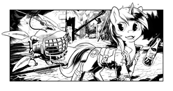 Size: 2550x1350 | Tagged: safe, artist:hobbes-maxwell, oc, oc only, oc:littlepip, oc:watcher, pony, unicorn, fallout equestria, black and white, clothes, fanfic, fanfic art, female, glowing horn, grayscale, horn, levitation, looking back, magic, mare, monochrome, open mouth, pipbuck, sparkle cola, spritebot, telekinesis, vault suit, wasteland