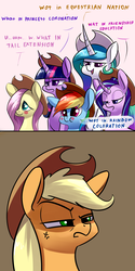 Size: 1600x3200 | Tagged: safe, artist:underpable, applejack, fluttershy, princess celestia, rainbow dash, starlight glimmer, twilight sparkle, alicorn, earth pony, pegasus, pony, unicorn, accessory swap, applejack is not amused, applejack's hat, blush sticker, blushing, cowboy hat, cross-popping veins, curved horn, cute, dashabetes, dialogue, female, hat, how dare you?, lidded eyes, mare, meme, mocking, offended, shyabetes, silly, silly pony, smirk, stetson, tail extensions, twilight sparkle (alicorn), unamused, what in tarnation, who's a silly pony