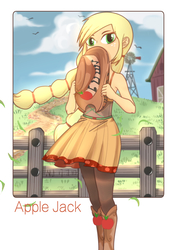Size: 1447x2046   Tagged: safe, artist:nanjun404, applejack, equestria girls, friendship through the ages, rainbow rocks, alternate hairstyle, barn, blonde, boots, braid, braided pigtails, clothes, country applejack, cowboy boots, cowboy hat, cute, dress, farm, female, fence, hat, hatless, jackabetes, missing accessory, outdoors, pixiv, shoes, shy, sky, sleeveless, solo, sweet apple acres, wind, windmill