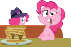 Size: 6200x4100 | Tagged: safe, artist:tomfraggle, pinkie pie, the saddle row review, absurd resolution, clone, food, hat, looking back, pancakes, pinkie clone, simple background, transparent background, vector