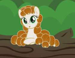 Size: 3300x2550 | Tagged: safe, artist:badumsquish, derpibooru exclusive, oc, oc only, mushroom pony, original species, crossed hooves, female, forest, fungus, happy, log, looking at you, mushroom, panellus stipticus, smiling, solo