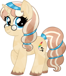Size: 806x930 | Tagged: safe, artist:tambelon, oc, oc only, oc:lulubell, crystal pony, pony, unicorn, crystallized, female, glasses, mare, race swap, raised hoof, simple background, smiling, solo, transparent background, unshorn fetlocks