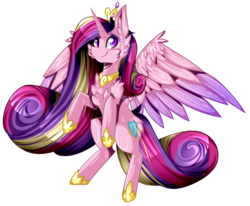 Size: 2906x2400 | Tagged: safe, artist:sonica98, princess cadance, alicorn, pony, cheek fluff, chest fluff, ear fluff, heart eyes, simple background, solo, transparent background, wingding eyes