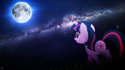 Size: 1920x1080 | Tagged: safe, artist:dashiesparkle, artist:drakesparkle44, twilight sparkle, full moon, grass, milky way galaxy, moon, night, solo, starfield, vector, wallpaper
