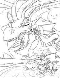 Size: 3864x5000 | Tagged: safe, artist:feroxultrus, bird, dragon, hippocampus, merpony, siren, absurd resolution, attack, beach, father, fins, foal, headbutt, island, mother, ocean, predator, prey, shore, teeth, wave