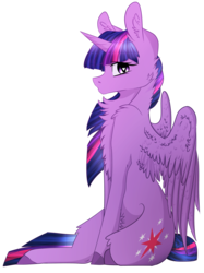 Size: 2347x3132 | Tagged: safe, artist:oolittlebratoo, artist:scottishnumpty, twilight sparkle, alicorn, pony, chest fluff, collaboration, female, fluffy, heart eyes, open collaboration, simple background, sitting, solo, spread wings, transparent background, twilight sparkle (alicorn), unshorn fetlocks, wingding eyes