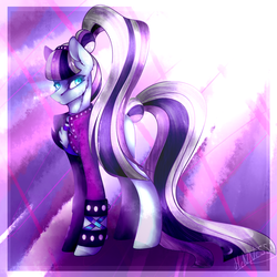 Size: 1024x1024 | Tagged: safe, artist:hennessieo, coloratura, earth pony, pony, bracelet, chest fluff, countess coloratura, jewelry, solo, spiked wristband, spotlight, wristband