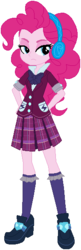 Size: 190x589 | Tagged: safe, artist:ra1nb0wk1tty, pinkie pie, equestria girls, base used, beautiful, clothes, crystal prep academy uniform, female, headphones, pink, school uniform, serious, simple background, solo, unamused, white background