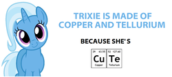 Size: 1192x538 | Tagged: safe, trixie, pony, unicorn, c:, chemical bond, chemistry, chemistry joke, copper, copper and tellurium, cute, diatrixes, female, head tilt, looking at you, mare, periodic table, pun, simple background, smiling, solo, tellurium, white background