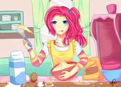 Size: 3500x2500 | Tagged: safe, artist:celeslun03, pinkie pie, human, batter, bowl, egg, female, food, humanized, kitchen, mixing bowl, solo, tongue out, whisk