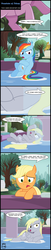 Size: 1627x7969 | Tagged: absurd res, applejack, artist:toxic-mario, bedroom eyes, comic, cutie mark, derpy hooves, dialogue, female, filly, filly applejack, filly derpy, filly rainbow dash, fountain, pillow, pony, rainbow dash, safe, sultry pose, towel, tree, water, wet, wet hair, wet mane