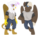 Size: 800x748 | Tagged: anthro, artist:dbkit, clothes, digitigrade anthro, dumbbell, gilda, griffon, hat, practice, practice drawing, safe, simple background, transparent background, unguligrade anthro