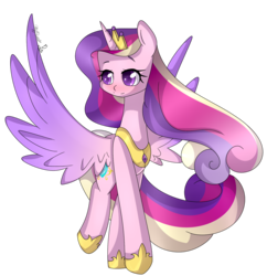 Size: 1592x1643 | Tagged: safe, artist:clefficia, artist:soundwavepie, princess cadance, alicorn, collaboration, female, heart eyes, open collaboration, simple background, solo, spread wings, transparent background, wingding eyes