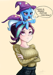 Size: 1000x1403 | Tagged: safe, artist:the-park, starlight glimmer, trixie, human, pony, unicorn, blushing, cape, clothes, crackers, crossed arms, dialogue, food, hat, humanized, inconvenient trixie, looking up, peanut butter, peanut butter crackers, pointing, ponies riding humans, pony hat, riding, simple background, trixie riding starlight glimmer, trixie's cape, trixie's hat, underhoof, yellow background