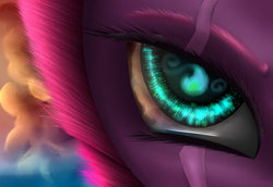Size: 1024x705 | Tagged: safe, artist:scalestroke315, fizzlepop berrytwist, tempest shadow, pony, unicorn, my little pony: the movie, badass, close-up, eye, eye scar, female, mare, scar, solo