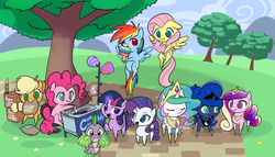 Size: 3150x1800 | Tagged: alicorn, applejack, artist:valcron, chair, cotton candy, cute, dragon, earth pony, eating, eyes on the prize, fluttershy, food, group photo, group shot, happy, hoof hold, :i, mane seven, mane six, mouth hold, nom, open mouth, pegasus, pinkie pie, pointy ponies, pony, princess cadance, princess celestia, princess luna, princess twilight, puffy cheeks, rainbow dash, raised eyebrow, raised hoof, rarity, safe, sitting, smiling, spike, spread wings, :t, tree, twilight sparkle, unicorn, wallpaper