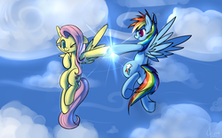 Size: 3200x2000 | Tagged: safe, artist:valcron, fluttershy, rainbow dash, pegasus, pony, duo, female, floating, floppy ears, flying, hoofbump, looking at each other, mare, one eye closed, sky, smiling, spread wings, underhoof, wink