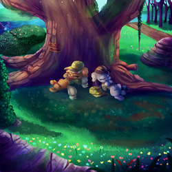 Size: 2000x2000 | Tagged: safe, artist:discorded, applejack, coloratura, pony, the mane attraction, clothes, crepuscular rays, cute, duo, female, filly, floppy ears, flower, grass, hat, jackabetes, lying down, nap, on back, path, pathway, rarabetes, river, scenery, sleeping, smiling, sunlight, tree, under the tree, younger