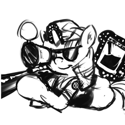 Size: 1500x1500 | Tagged: artist:gab0o0, black and white, crossover, derpibooru exclusive, female, glasses, glowing horn, grayscale, gun, hooves, horn, jar, jarate, levitation, lying down, magic, mare, monochrome, optical sight, pee in container, pony, rifle, safe, simple background, smiling, sniper, sniper rifle, solo, sunglasses, team fortress 2, telekinesis, twilight sniper, twilight sparkle, unicorn, urine, weapon, white background