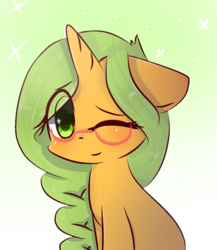 Size: 867x1000 | Tagged: safe, artist:windymils, oc, oc only, oc:honey nevaeh, pony, unicorn, colored pupils, female, floppy ears, glasses, gradient background, looking at you, mare, one eye closed, sitting, smiling, solo, wink