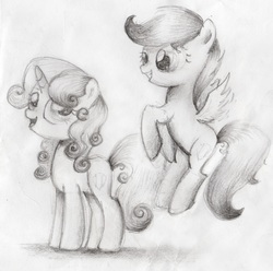 Size: 4906x4873 | Tagged: dead source, safe, artist:songbirdserenade, scootaloo, sweetie belle, pegasus, pony, unicorn, absurd resolution, cute, cutealoo, diasweetes, female, filly, flying, grayscale, grin, looking back, monochrome, scootaloo can fly, simple background, sketch, smiling, spread wings, squee, traditional art, white background, wings