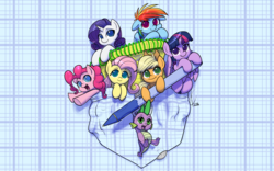 Size: 3200x2000 | Tagged: safe, artist:valcron, applejack, fluttershy, pinkie pie, rainbow dash, rarity, spike, twilight sparkle, alicorn, dragon, earth pony, pegasus, pony, unicorn, clothes, coin, colored pupils, cute, dashabetes, diapinkes, female, floppy ears, folded wings, hanging, hnnng, horn, jackabetes, looking at you, male, mane seven, mane six, mare, notebook, notepad, pen, pocket, pocket pony, raribetes, shirt, shyabetes, signature, small, smiling, spikabetes, swinging, tiny ponies, twiabetes, twilight sparkle (alicorn), wallpaper, wings