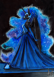 Size: 1741x2457 | Tagged: safe, artist:stirren, nightmare moon, alicorn, anthro, unguligrade anthro, beautiful, clothes, dress, female, majestic, queen, smiling, solo, walking
