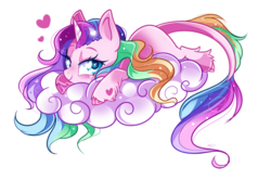 Size: 800x531   Tagged: safe, artist:ipun, oc, oc only, oc:sleepy cloud, classical unicorn, pony, unicorn, cloud, cloven hooves, female, heart, heart eyes, leonine tail, looking at you, mare, prone, rainbow hair, simple background, solo, transparent background, unshorn fetlocks, wingding eyes