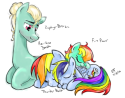 Size: 831x651 | Tagged: artist:elementofsuprise, eyes closed, female, lying down, male, oc, oc:fire power, oc:thunder bolt, offspring, parent:rainbow dash, parents:zephdash, parent:zephyr breeze, pegasus, pony, rainbow dash, safe, shipping, sleeping, smiling, straight, zephdash, zephyr breeze