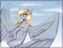 Size: 2579x2000 | Tagged: artist:dagnesstoyn, chest fluff, derpy hooves, female, flying, mare, pegasus, pony, safe, solo