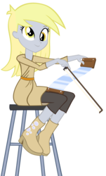Size: 1024x1699 | Tagged: safe, artist:evilangeljs, derpy hooves, equestria girls, rainbow rocks, bow (instrument), musical instrument, musical saw, simple background, smiling, solo, stool, transparent background, vector