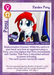 Size: 788x1088 | Tagged: safe, artist:10art1, oc, oc only, oc:yandex, pony, twilight sparkle's secret shipfic folder, browser ponies, card, censorship, joseph stallion, natalia poklonskaya, roskomnadzor, russian, solo, yandex