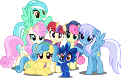 Size: 6000x3849 | Tagged: safe, artist:orin331, bon bon, lemon hearts, lyra heartstrings, minuette, moondancer, sweetie drops, twinkleshine, oc, oc:dipper, alicorn, pegasus, pony, unicorn, ursa minor, dancerverse, absurd resolution, alicornified, alternate hairstyle, alternate universe, female, flying, group, looking at you, mare, prone, race swap, simple background, transparent background, ursa minimus