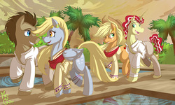 Size: 5250x3150 | Tagged: safe, artist:moostargazer, applejack, derpy hooves, doctor whooves, flim, time turner, earth pony, pegasus, pony, unicorn, absurd resolution, clothes, doctorderpy, female, flimjack, male, shipping, straight