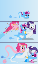 Size: 4096x6976 | Tagged: safe, artist:parclytaxel, pinkie pie, rarity, oc, oc:parcly taxel, alicorn, earth pony, genie, genie pony, pony, unicorn, ain't never had friends like us, albumin flask, ask generous genie rarity, .svg available, absurd resolution, alicorn oc, armband, ask, bedroom eyes, blushing, bottle, canon x oc, comic, confetti, dancing, eyes closed, female, floating, frown, gem, gradient background, headband, horn ring, jewelry, lesbian, lidded eyes, makeup, mare, open mouth, parity, party cannon, raised hoof, raripie, screaming, shipping, shocked, smiling, startled, surprised, tangled up, tired, tongue out, trio, tumblr, vector, veil