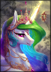 Size: 1240x1753 | Tagged: safe, artist:begasus, princess celestia, alicorn, pony, art trade, beautiful, bust, crown, curved horn, detailed, ear fluff, eyeshadow, female, forest background, glowing horn, grin, horn jewelry, jewelry, levitation, magic, makeup, mare, necklace, peytral, portrait, regalia, signature, smiling, solo, telekinesis, tiara, wing fluff, wing jewelry
