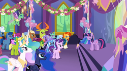 Size: 1280x720 | Tagged: safe, screencap, applejack, berry punch, berryshine, bittersweet (character), fluffy clouds, goldengrape, leadwing, linky, meadow song, pinkie pie, princess celestia, princess luna, shoeshine, sir colton vines iii, starlight glimmer, sunburst, thorax, trixie, twilight sparkle, alicorn, changedling, changeling, earth pony, pony, unicorn, celestial advice, background changeling, background pony, balloon, crowd, equestrian pink heart of courage, king thorax, twilight sparkle (alicorn), twilight's castle
