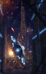 Size: 1856x3000 | Tagged: safe, artist:detomasko, oc, oc only, car, city, futuristic, hovercraft, night, scenery, science fiction