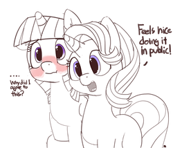 Size: 1280x1096   Tagged: safe, artist:pabbley, starlight glimmer, twilight sparkle, alicorn, pony, blushing, cuddling, dialogue, duo, duo female, female, partial color, platonic, platonic cuddling, simple background, twilight sparkle (alicorn), white background